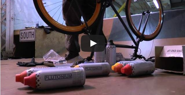 Ryan Humphrey Painting a Pure Fix bike with Plutonium Paint